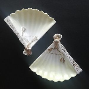 Vintage Pair of small fan shaped dishes